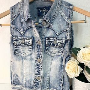 Denim jacket vest size medium